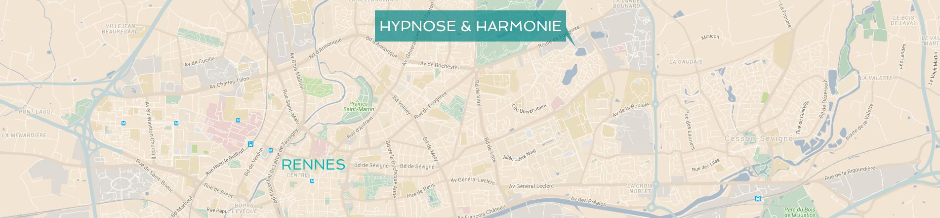 Carte pour situer votre cabinet d'hypnose à Rennes